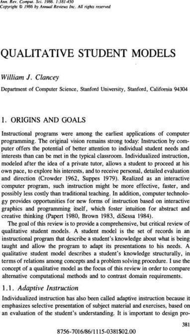 Qualitative Student Models - Annual Review of Computer Science, 1(1):381 | Artificial Intelligence in Education | Scoop.it