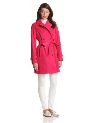 Via Spiga Women's Studded Double Breasted Water Resistant Trench Coat, Azalea, Small | Big Deals Fashion Today | Scoop.it