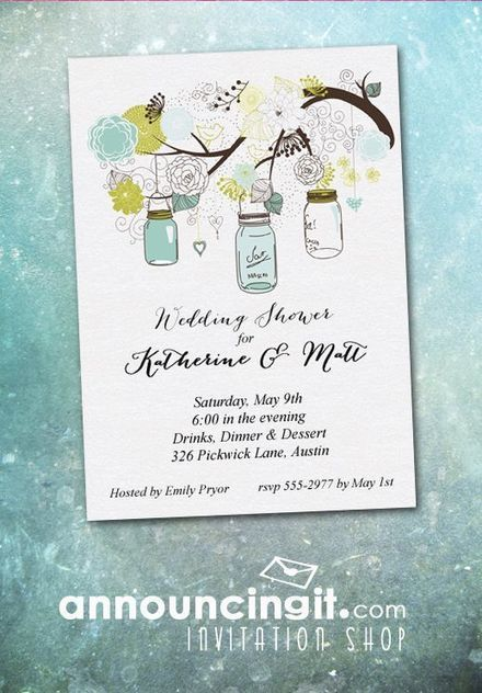 Blue Mason Jars Party Invitations | Party Invitations | Scoop.it