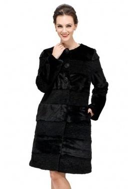 Black faux mink cashmere with black astrakhan middle fur coat | Comfortable faux fur coat fashion | Scoop.it