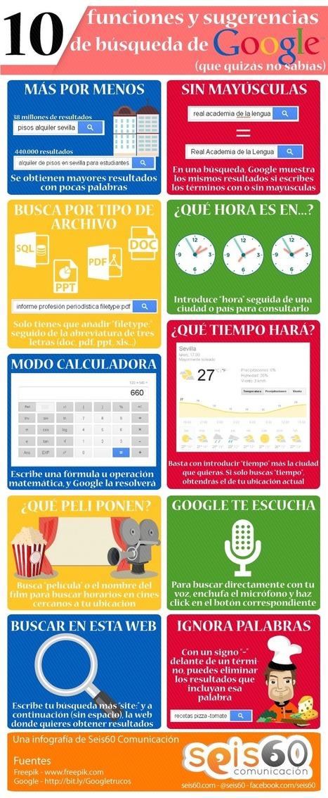 10 funciones y sugerencias de búsqueda de Google #infografia | Educacion, ecologia y TIC | Scoop.it