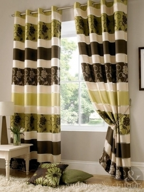 Jasmine Floral Embroidered Brown & Green Taffeta Lined Eyelet Curtain - Curtains UK | Which colour should be chosen for window curtains | Scoop.it