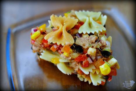 Ensalada de pasta, atún y vegetales. :>Las recetas de Tere;; | recipes, recetas, coocking, cocinar | Scoop.it