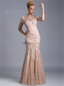 Cheap Short Sleeves Floor-Length Scoop Prom Dress Sale at Amydress.co.uk | amydress | Scoop.it