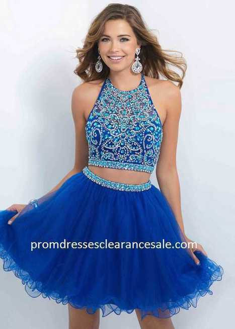 2015 Bright Navy Two Piece Halter Beaded Layered Prom Dress Discount CroQ13 | nice website | Scoop.it