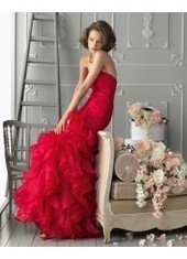 Drop Waist Strapless Floor Length Red Evening Dress Peai0008 for $396 | wedding and event | Scoop.it