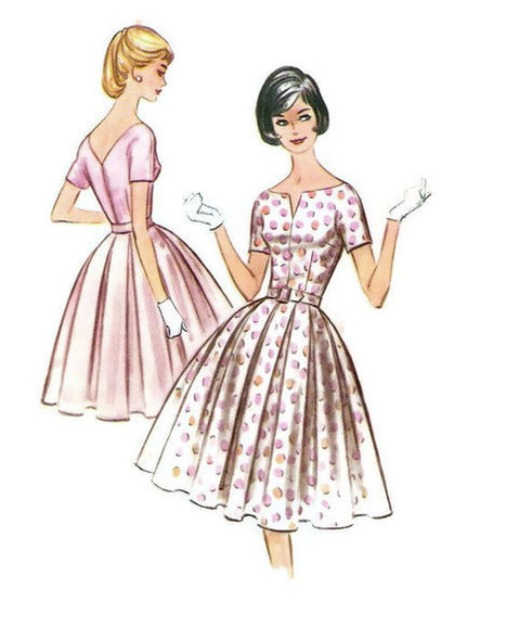 Vintage 50s 60s Sewing Pattern McCall's 5764 Rockabilly Style Garden Tea Dress Full Skirt Plus Size Full Figure Bust 38 | Vintage Sewing Patterns | Scoop.it