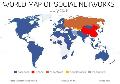 World map of top social networks shows Facebook now dominates 130 out of 137 countries | MarketingHits | Scoop.it