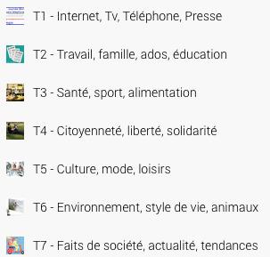 Scoop.it: 7 thèmes, de T1 à T7 | Argumenter: 7 thèmes | Scoop.it
