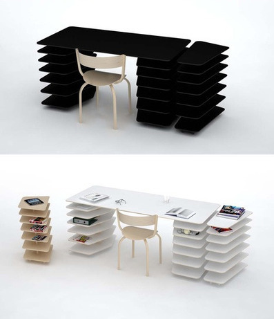 Instant Office: Snap-Together Custom Desk + Shelving Unit | Designs & Ideas on Dornob | Furniture Design | Scoop.it