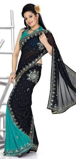 Black And Rama Color Faux Georgette Designer Lehenga Saree [MYSM1432] | Bridal Sarees , Lahenga Sarees Collection | Scoop.it
