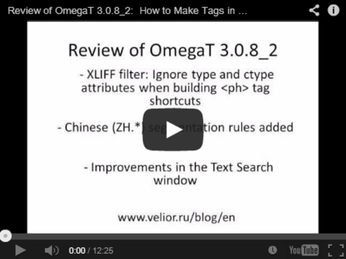 (CAT) (VIDEO) - Review of OmegaT 3.0.8_2: How to Make Tags in XLIFF and TMX Match | Roman Mironov | Glossarissimo! | Scoop.it