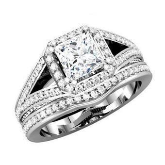Square Shape Split Shank Semi Mount With Diamond Matching Band | Wedding Ring | Scoop.it