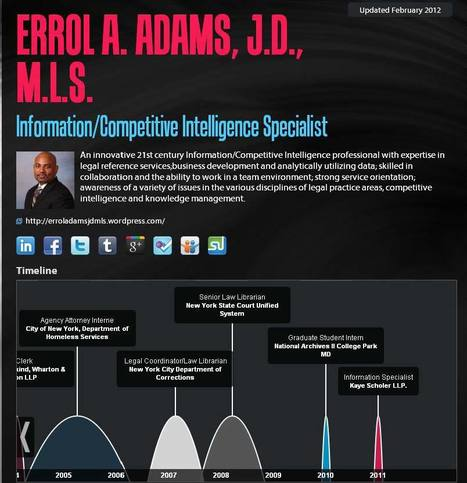 Errol A. Adams, J.D., M.L.S. | re.vu | Errol A. Adams, J.D., M.L.S. Infographic Resumes | Scoop.it