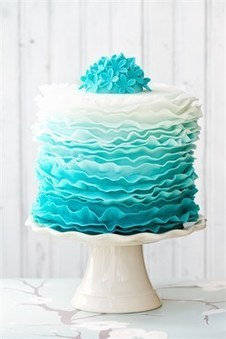 Blue Ombre Ruffle Wedding Cake | Cake And More Cake | Scoop.it