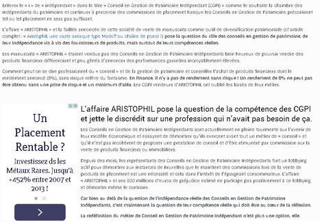 L'affaire «ARISTOPHIL» rend nécessaire une clarification du métier de CGPI. | Epargne et gestion de patrimoine | Scoop.it