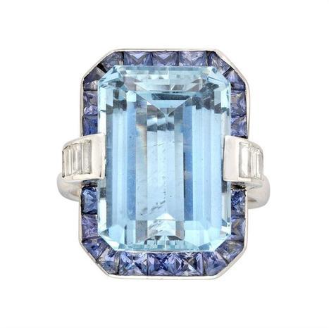 Aquamarine, Sapphire and Diamond Cluster Ring - Bentley & Skinner | Bentley And Skinner | Scoop.it