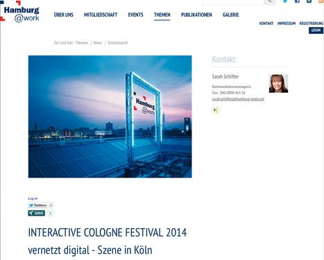 Hamburg@work: INTERACTIVE COLOGNE FESTIVAL 2014 vernetzt digital - Szene in Köln   Web de Cologne   Scoop.it