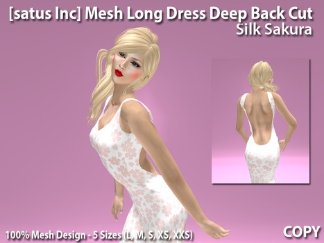 Mesh Long Dress Deep Back Cut Silk Sakura Teleport Hub's Exclusive Group Gift by [satus Inc] | Teleport Hub - Second Life Freebies | Second Life Freebies | Scoop.it