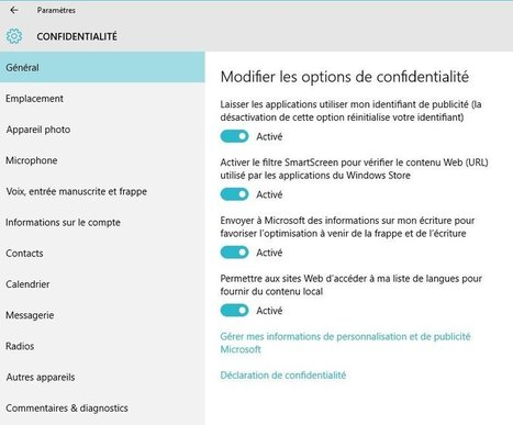 Astuce Windows 10 : paramétrer les options de vie privée | Seniors | Scoop.it