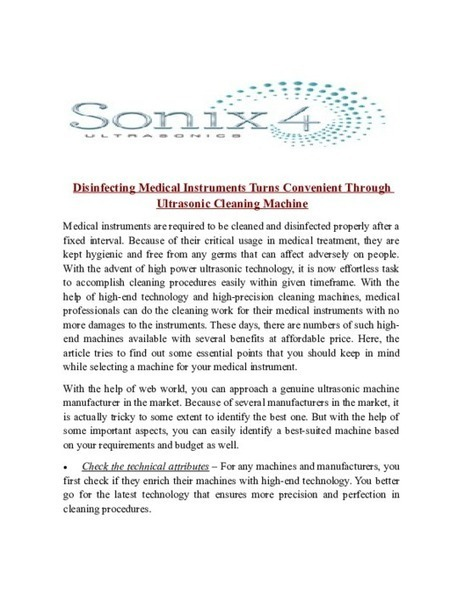 Disinfecting Medical Instruments Turns Convenient Through Ultrasonic Cleaning Machine - PDF | Ultrasonic Equipment, Industrial and dental Ultrasonic Cleaning System | Scoop.it