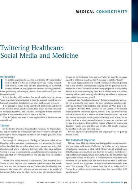 Twittering Healthcare: Social Media and Medicine | Sanità in Salute | Scoop.it