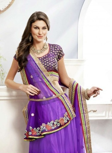 Purple Lehnga Choli with Patchwork,border work. Buy online with confidence   Bridal Lehengas   Scoop.it