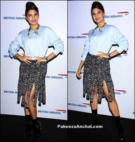 Jacqueline Fernandez at British Airways in MonoChrome Skirt | Indian Fashion Updates | Scoop.it