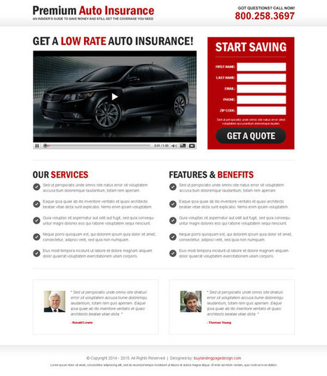 auto-insurance-lead-capture-video-lp-3 | Auto Insurance landing page design preview. | converting and effective landing page designs | Scoop.it