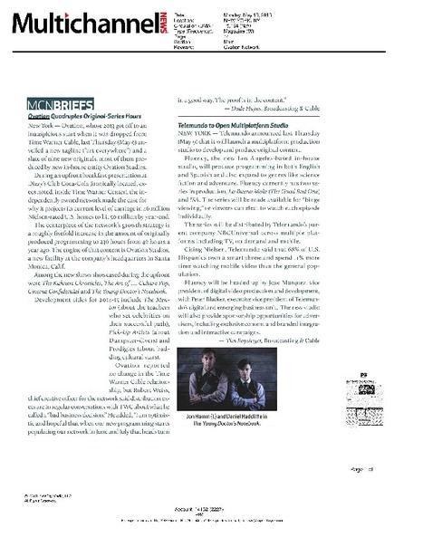 Multichannel News print edition - May 13, 2013 | OVATION 2013 PRESS UPFRONT | Scoop.it