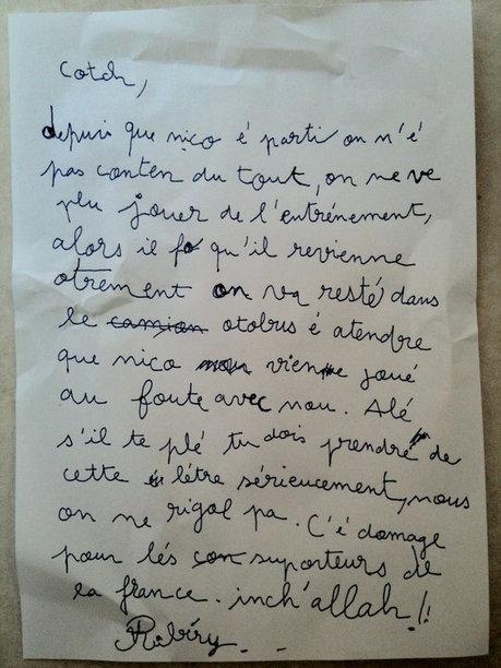 EXCLUSIF ! La lettre écrite par Ribery et lue par Domenech lors de la grève des joueurs de l'Equipe de France à Knysna | Mais n'importe quoi ! | Scoop.it