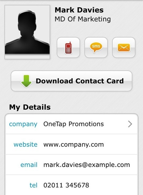 Tip: Download Your Contact Card With OneTap Business Cards | NFC Business Cards | Scoop.it