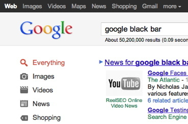 Google Black Bar (Nav Bar) launched site wide except YouTube, + related? | The Google+ Project | Scoop.it