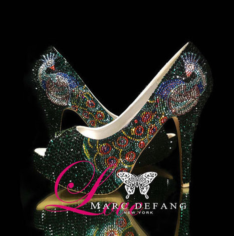 Peacock, feather crystal, luxury bridal wedding shoes heels | Fashion | Scoop.it