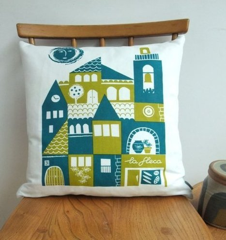 Siesta cushion in teal and olive on white linen by roddyandginger | homedecor | Scoop.it