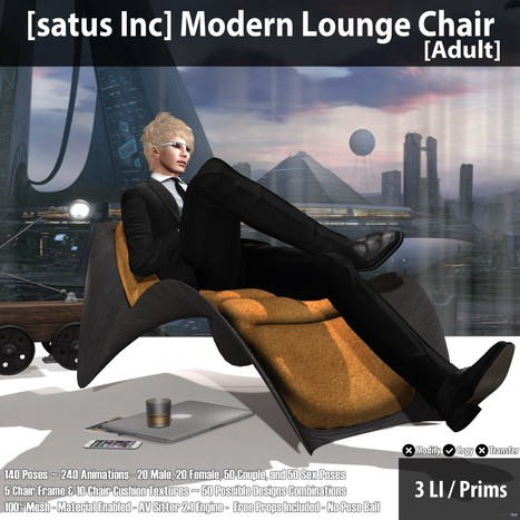 New Release: Modern Lounge Chair (Adult & PG) by [satus Inc] | Teleport Hub - Second Life Freebies | Second Life Freebies | Scoop.it