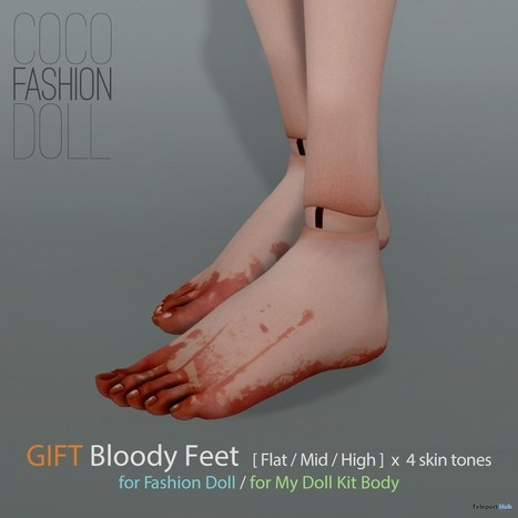 Bloody Feet Group Gift by COCO Designs | Teleport Hub - Second Life Freebies | Second Life Freebies | Scoop.it