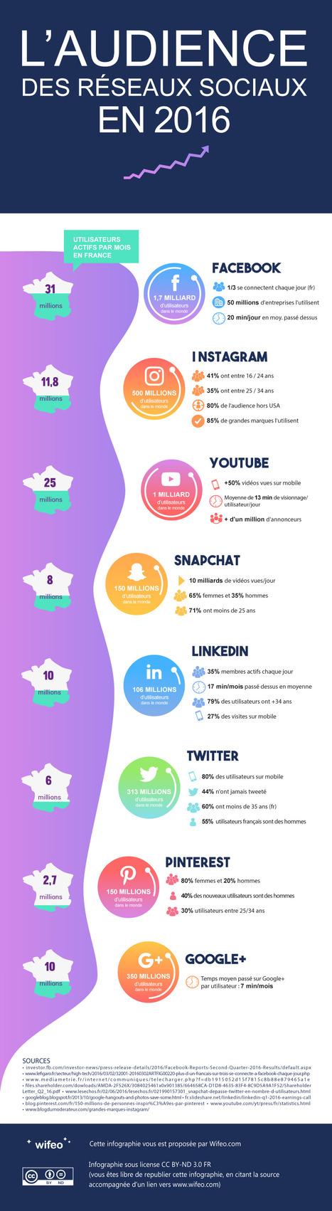 [infographie] Les audiences des réseaux sociaux en France et dans le monde en 2016 | Social Media Curation par Mon Habitat Web | Scoop.it