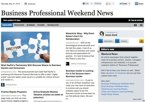 Sept 1 - Business Professional Weekend News | Business Futures | Scoop.it