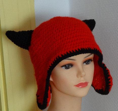 crochet hat horns Slouch beanie, hat horns, devil hats, devil horns Crochet horns devil horns  animal horns Beanien Slouch Hat Tenn hats   CrochetHappy   Scoop.it
