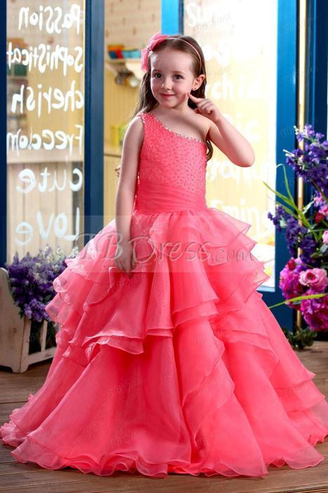 $ 107.99 Glamorous A-Line Floor-length One-Shoulder Ruffles Flower Girl Dress | kid dress | Scoop.it