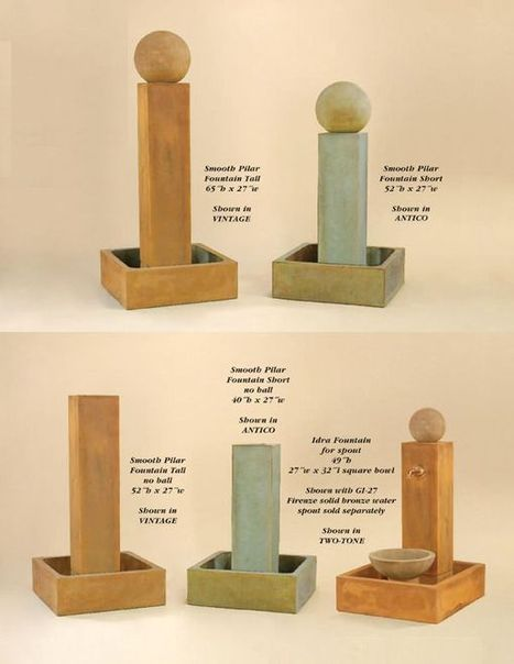Exalted Fountains | Smooth Pillar Tall, Smooth Pillar Short, Smooth Pillar Tall with no ball, Smooth Pillar Short with no ball & Idra for Spout Fountains | Garden Fountains Are Wonderful | Scoop.it