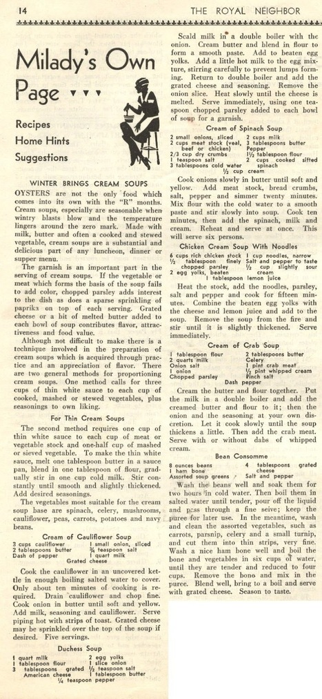 Things Your Grandmother Knew: Winter Brings Cream Soups | Vintage Living Today For A Future Tomorrow | Scoop.it