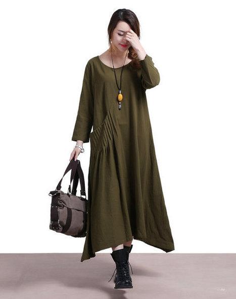 Army Green Linen fifth big swing Wai Sleeve Dress / Neck loose robe Dress | Ladies Fashion | Scoop.it