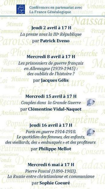 AD 75 : Archives de Paris - Conférences 2ème semestre 2015 (La France Généalogique) | Au hasard | Scoop.it