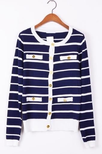 Cross Striped Mock Pockets Cardigan - OASAP.com | Online Fashion | Scoop.it