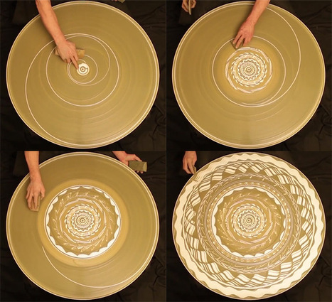 A Spinning Mosaic of Patterns Drawn with Wet Clay on a Potter's Wheel | Colossal | Integrating Art and Science | Scoop.it