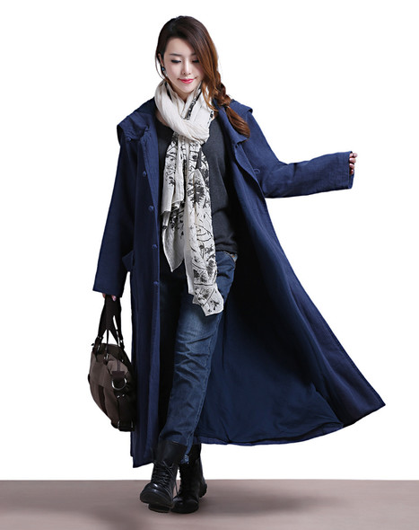 Blue linen lace long-sleeved hooded jacket with large pockets Windbreaker | Ladies Fashion | Scoop.it