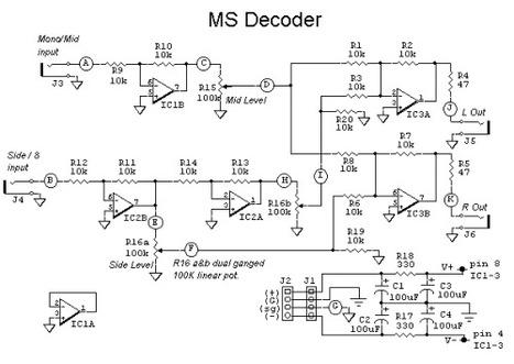 Mid - Side Decoder - active op amp schematics | DIY Music & electronics | Scoop.it