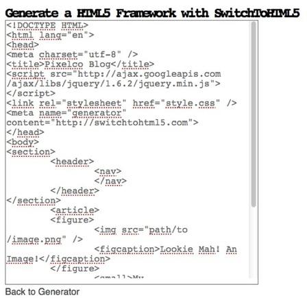 SwitchToHTML5 – Herramienta online para generar templates HTML5 | Pixelco | Noticias de html5 + CSS3 | Scoop.it